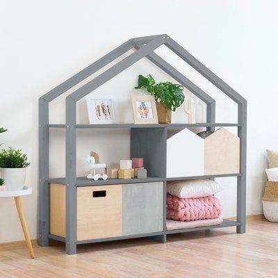 Étagère maison 3 niveaux 146x39x137 cm grise - SHOAN
