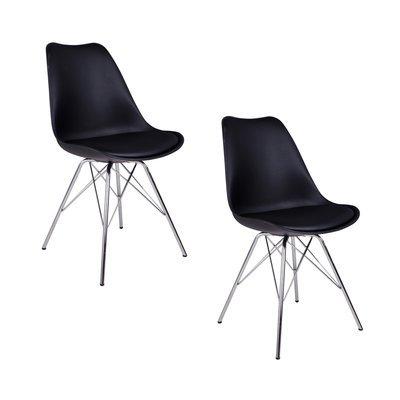 Lot de 2 chaises 55x48x86 cm en PU noir et pieds chromés - LUCIE