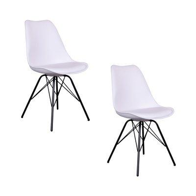 Lot de 2 chaises 55x48x86 cm en PU blanc et pieds noirs - LUCIE