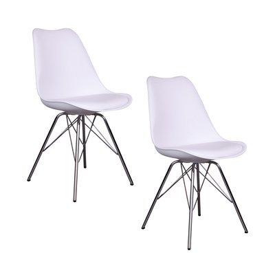 Lot de 2 chaises 55x48x86 cm en PU blanc et pieds chromés - LUCIE