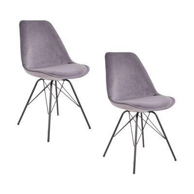 Lot de 2 chaises 55x48x86 cm en velours gris et pieds noirs  - LUCIE