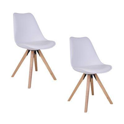 Lot de 2 chaises 55x48x86 cm en PU blanc et pieds naturel - LUCIE