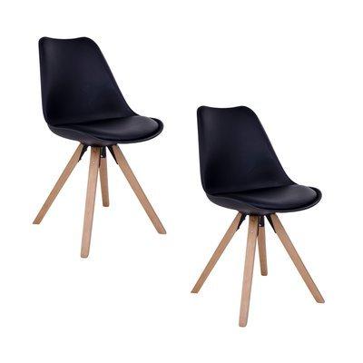 Lot de 2 chaises 55x48x86 cm en PU noir et pieds naturel - LUCIE