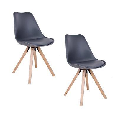 Lot de 2 chaises 55x48x86 cm en PU gris et pieds naturel - LUCIE
