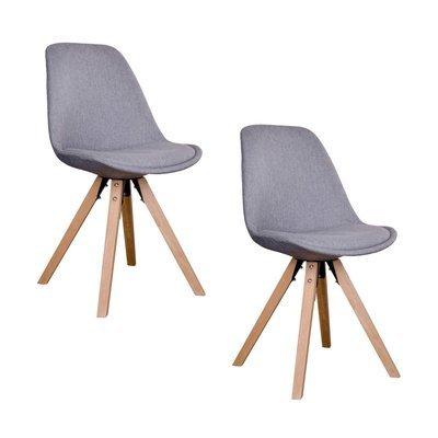 Lot de 2 chaises 55x48x86 cm gris clair et pieds naturel - LUCIE