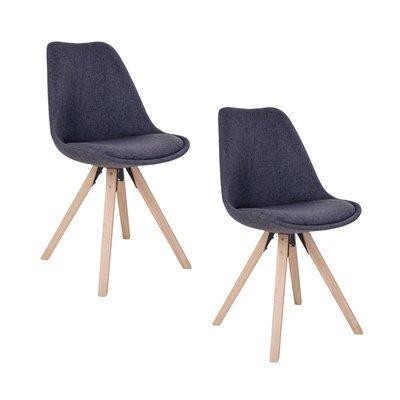 Lot de 2 chaises 55x48x86 cm gris foncé et pieds naturel - LUCIE