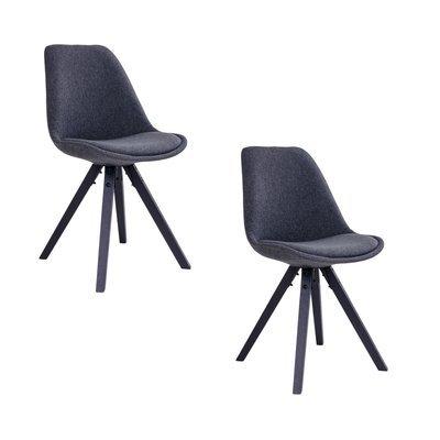 Lot de 2 chaises 55x48x86 gris foncé et pieds noir - LUCIE