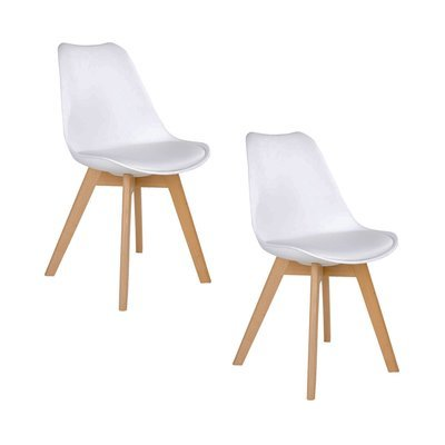 Lot de 2 chaises 55x48x87 cm en PU blanc et pieds naturel - LUCIE