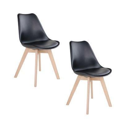 Lot de 2 chaises 55x48x87 cm en PU noir et pieds naturel - LUCIE