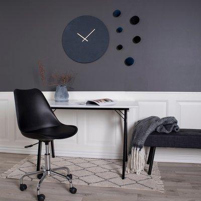 Chaise de bureau 54x48x84 cm en PU noir - LUCIE