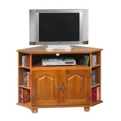 Meuble TV d'angle 2 portes 114x77x77 cm en chêne - QUIMPER